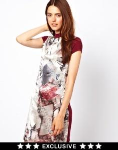 Esprit silk geometric print dress